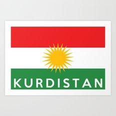Kurdistan country flag name text Art Print