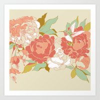 garden Art Prints featuring garden party by Teagan White