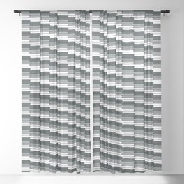 Staggered Oblong Rounded Lines Pattern PPG Night Watch Pewter Green Sheer Curtain