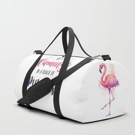 Be a Flamingo in a Flock of Pigeons Watercolor Typography Animals Duffle Bag