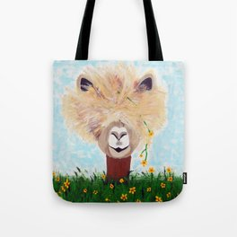 Llama with Flower Tote Bag