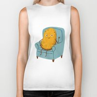 potato Biker Tanks featuring Couch Potato by Julia Bereciartu