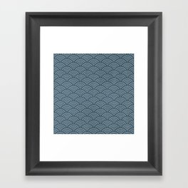 Blue Indigo Denim Waves Framed Art Print