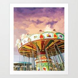 Carnival Swing Watercolor Art Print