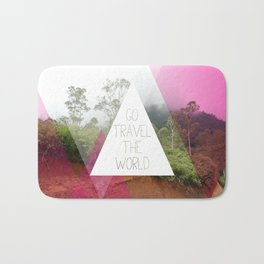 Travel the world Indonesia photography smokey mountain and typography print Bath Mat