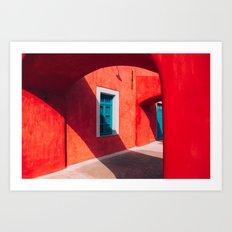Santorini Architecture Red Art Print