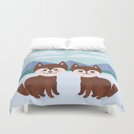 Kawaii funny brown husky dog, face with large eyes and pink cheeks, boy and girl, mountain landscape Duvet Cover
