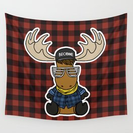 Moose Plaid Wall Tapestry