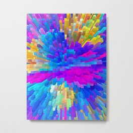 Extrusion effect - 3D Colorful spikes and cubes Metal Print