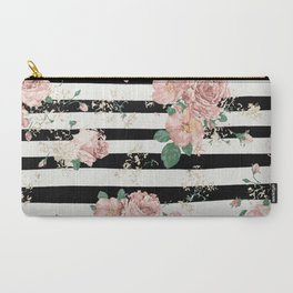 VINTAGE FLORAL ROSES BLACK AND WHITE STRIPES Carry-All Pouch