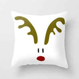 Christmas Red Nose Reindeer Throw Pillow