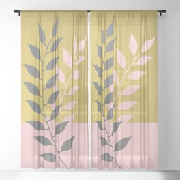 Simply Botanical Gold Grey Pink Sheer Curtain