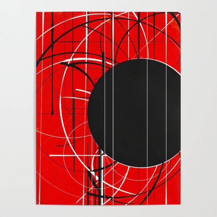 Black Dot Sticker Abstract Poster