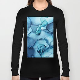 The Blue Abyss - Alcohol Ink Painting Long Sleeve T-shirt