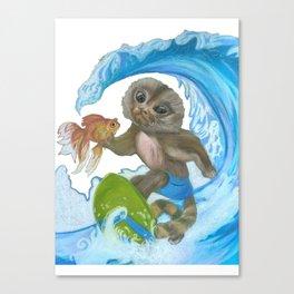 Pygmy Marmoset - Surfer - Superhero Canvas Print