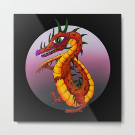 Dragon in the Midnight Sun Metal Print