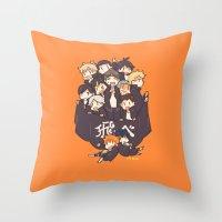 haikyuu Throw Pillows featuring Haikyuu!! Karasuno Team by Kim Quim