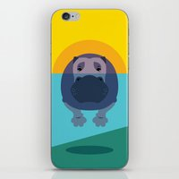 hippo iPhone & iPod Skins featuring Hippo by Steph Dillon