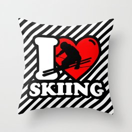 I love Skiing - Funny Ski Lover Gift2 Throw Pillow