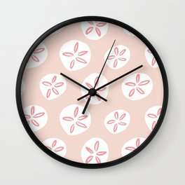 Sand Dollars Sea Urchin in Blush Pink Wall Clock