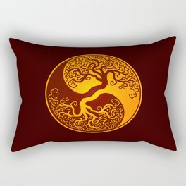 Red and Yellow Tree of Life Yin Yang Rectangular Pillow