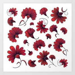 Red Carnation Vector Pattern Flower Art Print