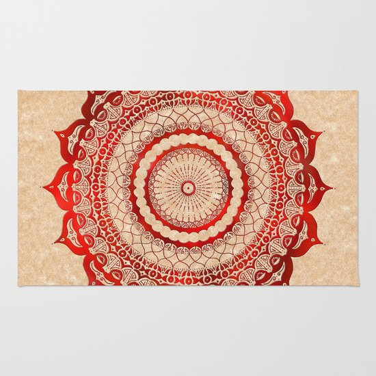 omulyána red gallery mandala Rug
