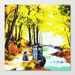 Tardis Art Speaking With Dalek Canvas Print