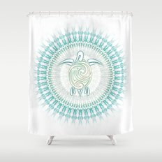Turquoise Green Turtle And Mandala Shower Curtain