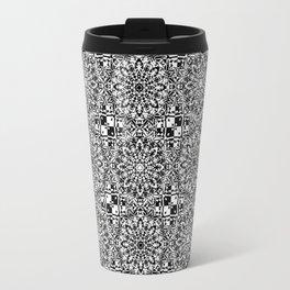 Black and White Lace Mandala and Basket Weave Tile Travel Mug