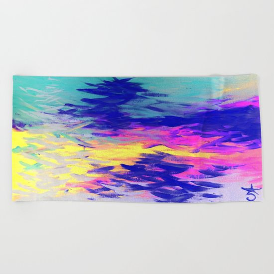 Neon Mimosa Inspired Painting Beach Towel