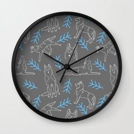 Siberian Husky Pattern Wall Clock