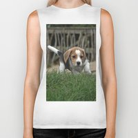 puppies Biker Tanks featuring Beagle puppies by Martina Berg