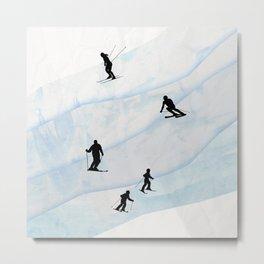 Skiing Hills Metal Print