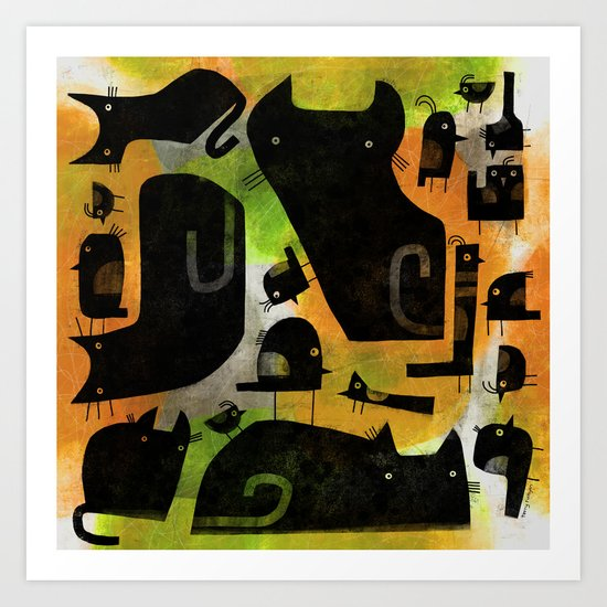 BLACK BIRDS & CATS Art Print