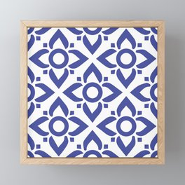 illustration decorative bluish seamless vector pattern floral motifs Framed Mini Art Print