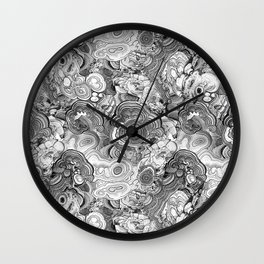 Malachite black and white Wall Clock