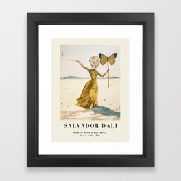 Vintage poster-Salvador Dali-Woman with a butterfly.  Framed Art Print