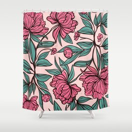 Background of hand drawn flowers and leaves Shower Curtain