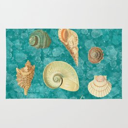 Dancing Shells Turquoise Watercolor Splashes Rug