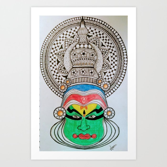 Kathakali Dance Art Print By Apsurus Society6