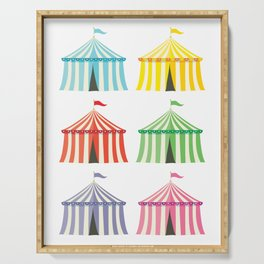 colourful circus tents Serving Tray