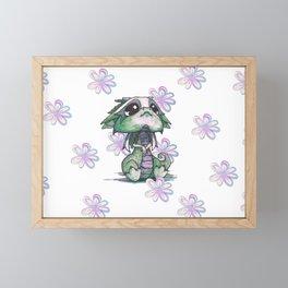 Baby Dragon with Flowers Framed Mini Art Print