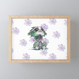 Baby Dragon with Flowers Framed Mini Art Print