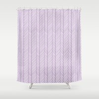 herringbone Shower Curtains featuring Herringbone Orchid by Project M