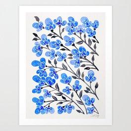 Cherry Blossoms – Blue Palette Art Print