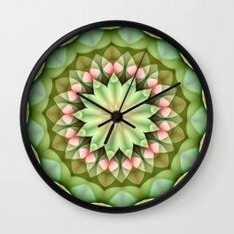 Daisy Pink Green Kaleidoscope Wall Clock