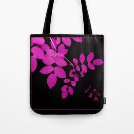 Uber Bright Pink Leaves on Black Tote Bag