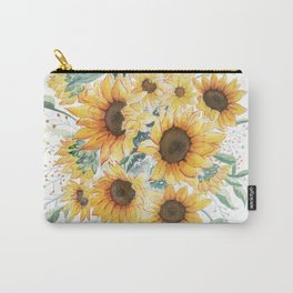 Loose Watercolor Sunflowers Carry-All Pouch