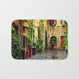 Vintage street in Rome, after Rain Bath Mat